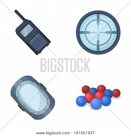 Balls with paint and other equipment. Paintball single icon in cartoon style vector symbol stock illustration .