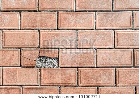 Paving Stone-color Of Red Clay With One Dilapidated Fragment