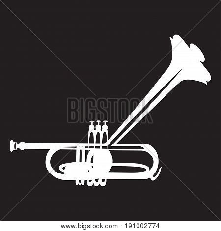 Vector illustration of white trumpet isolated on black background. Wind brass musical instrument in flat style.