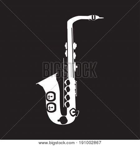 Vector illustration of white saxophone isolated on black background. Sax template, flat style design