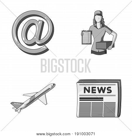 Email symbol, courier with parcel, postal airplane, pack of newspapers.Mail and postman set collection icons in monochrome style vector symbol stock illustration .