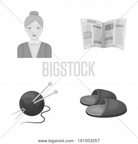 An elderly woman, slippers, a newspaper, knitting.Old age set collection icons in monochrome style vector symbol stock illustration .