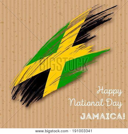 Jamaica Independence Day Patriotic Design. Expressive Brush Stroke In National Flag Colors On Kraft
