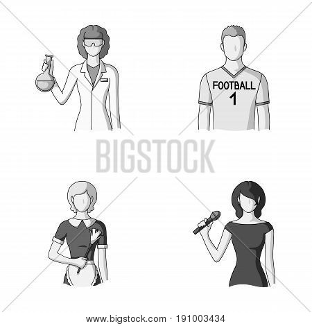 Woman chemist, football player, hotel maid, singer, presenter.Profession set collection icons in monochrome style vector symbol stock illustration .