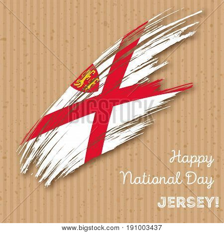 Jersey Independence Day Patriotic Design. Expressive Brush Stroke In National Flag Colors On Kraft P