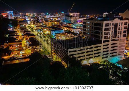 Kota Kinabalu,Sabah-May 29,2017:Kota Kinabalu city night view on 29th May 2017 in Kota Kinabalu,Sabah,Malaysia.Kota Kinabalu City is hub for islands,resorts,award winning sunsets & Mount Kinabalu