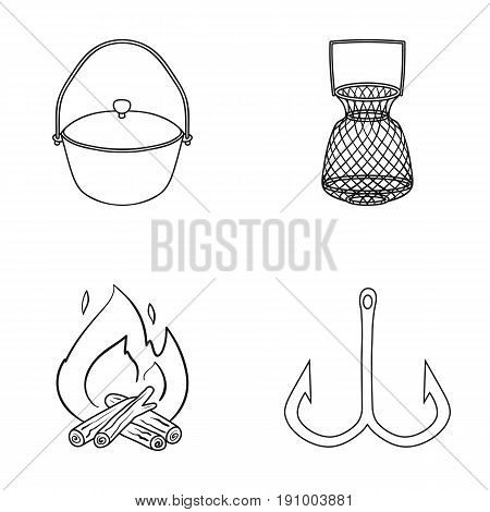 Catch, hook, mesh, caster .Fishing set collection icons in outline style vector symbol stock illustration .