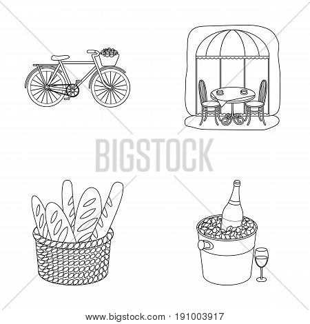 Bicycle, transport, vehicle, cafe .France country set collection icons in outline style vector symbol stock illustration .