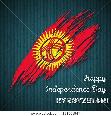 Kyrgyzstan Independence Day Patriotic Design. Expressive Brush Stroke In National Flag Colors On Dar