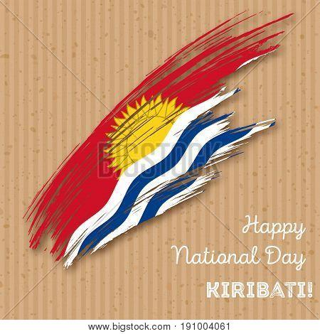 Kiribati Independence Day Patriotic Design. Expressive Brush Stroke In National Flag Colors On Kraft