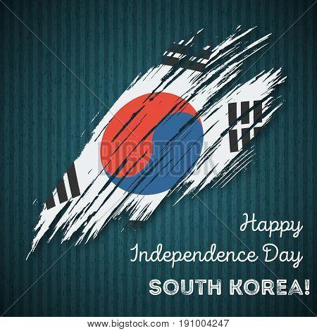 South Korea Independence Day Patriotic Design. Expressive Brush Stroke In National Flag Colors On Da