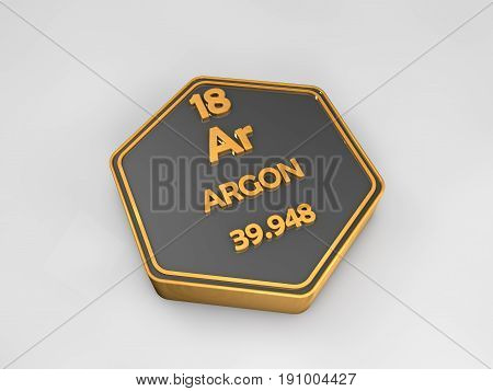 Argon - Ar - chemical element periodic table hexagonal shape 3d illustration