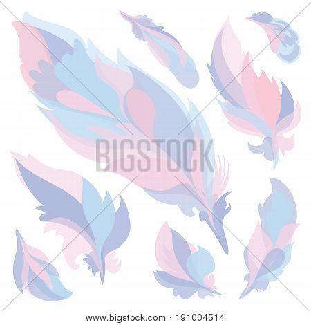 Boho pink, purple and blue silhouette design elements set