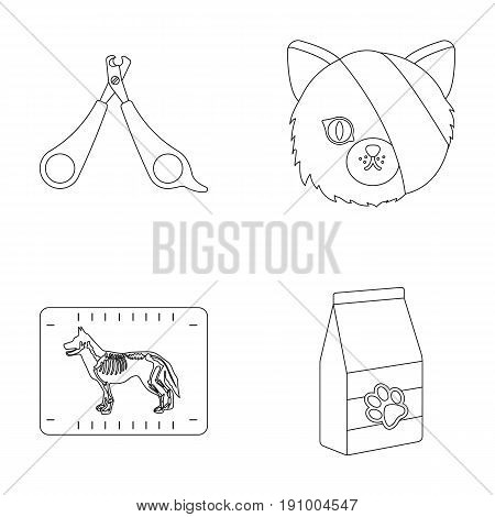 Scissors, cat, bandage, wounded .Vet Clinic set collection icons in outline style vector symbol stock illustration .