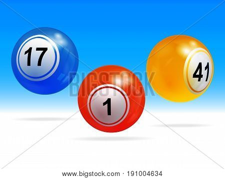 3D Illustration of Trio Bingo Lottery Balls with Shadows Over Blue and White Background