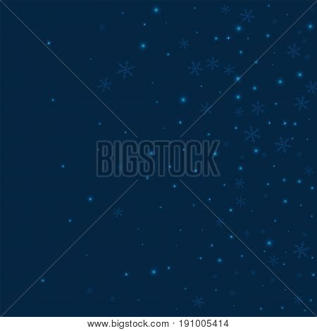 Sparse Glowing Snow. Right Gradient On Deep Blue Background. Vector Illustration.