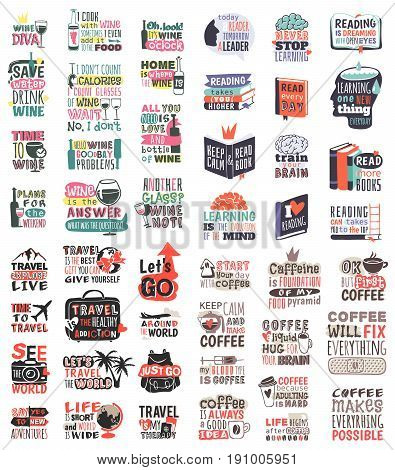 Travel, reading, coocking and winemotivation badge quote phrases text vector logo mega set collection. Adventure poster emblem travel motivation badges. Motivation badge typography label concept.