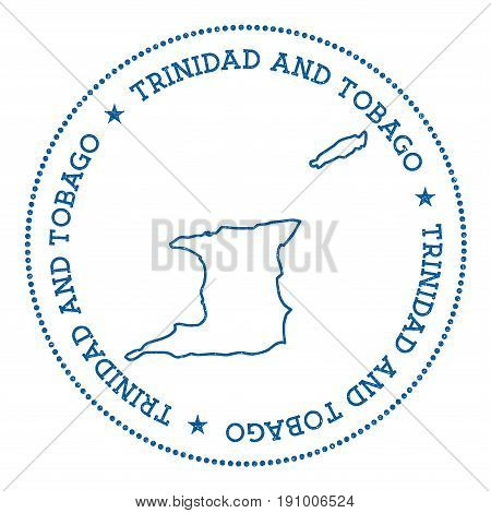 Trinidad And Tobago Vector Map Sticker. Hipster And Retro Style Badge With Trinidad And Tobago Map.