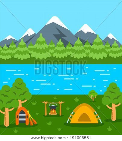 Summer camping background. Vector flat illustration. Natural landscape with mountains, forest and river. Tent, campfire with pot and boat with oars. Wild tourism poster. Outdoor leisure activity