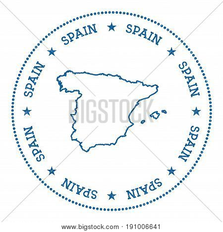 Spain Vector Map Sticker. Hipster And Retro Style Badge With Spain Map. Minimalistic Insignia With R
