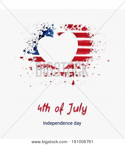 USA Independence day background. Happy 4th of July. Vector abstract grunge flag in heart shape with text. Template for banner, greeting card, invitation, poster, flyer, etc.