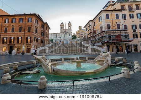 ROME ITALY - MAY 312017: Spanish Steps and fountain in Piazza Spagna at morning time.