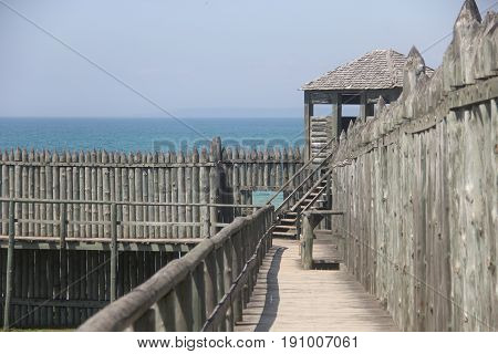 Wooden palisade and towers of Fort Michilimackinac, Straits of Mackinac, Michigan