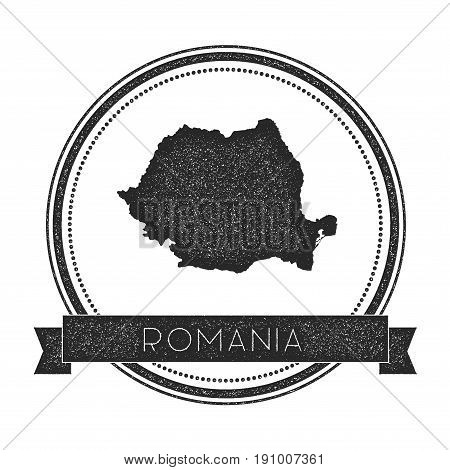 Retro Distressed Romania Badge With Map. Hipster Round Rubber Stamp With Country Name Banner, Vector