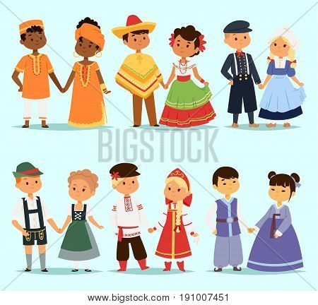 Lttle kids children couples character of world dress girls and boys in different traditional national costumes and cute nationality dress vector illustration. Cultural friendship child ethnic group.
