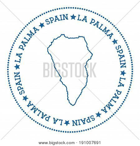 La Palma Map Sticker. Hipster And Retro Style Badge. Minimalistic Insignia With Round Dots Border. I