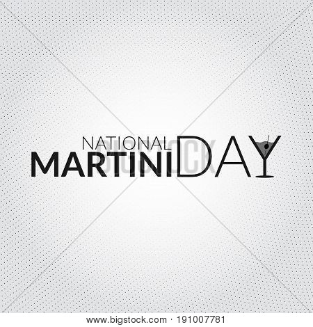 National martini day card. Vector illustration with stylized glass shaped letter silhouette
