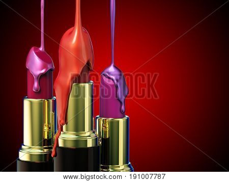 Red lipstick and multi-colored droplet nail polish on red background. 3d rendering