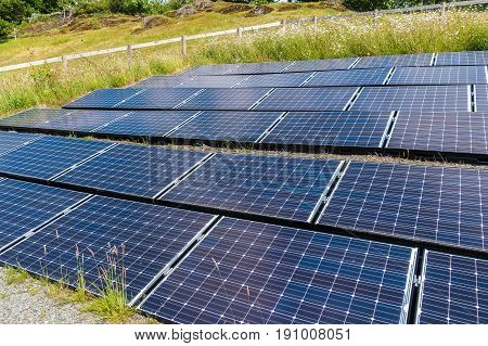 Solar panels mounted on the side of a hill