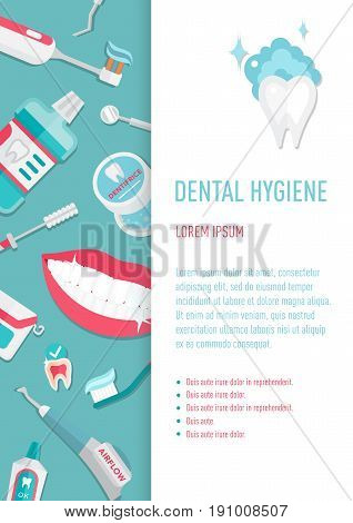 Medical teeth hygiene leaflet and banners template design vector with tools and equipment on blue background. Take care teeth.