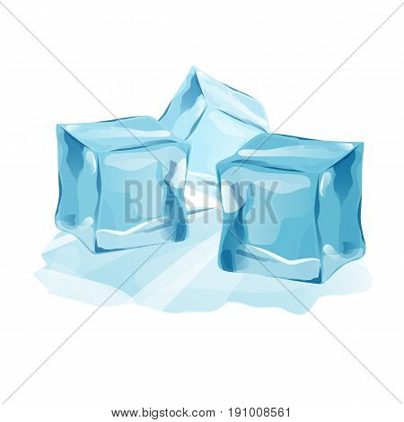 Set Isolated ice caps snowdrifts and icicles elements winter decor vector. Ice cube with transparency, 3d vector set. Snowy elements on white background. Template in cartoon style for your design