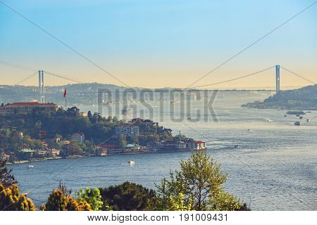 Beautiful view of the Bosphorus, the Bosphorus Bridge which connects Asian and European sides of Istanbul, taken from Otagtepe park, Beykoz