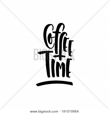 Lettering on the theme of coffee is hand-written. The phrase coffe shop isolated on white background