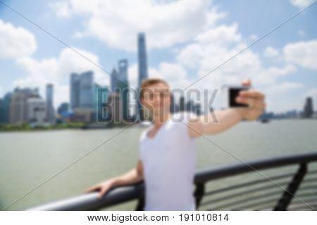 Blurred Background Traveller Tourism in Shanghai Concept