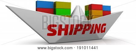 Shipping. Paper boat with shipping containers. Paper boat with red word