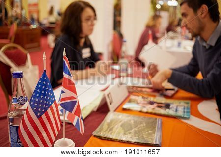 MOSCOW, RUSSIA - JAN 22, 2017: Participant of exhibition Studinter Education Abroad for All in Radisson Slavyanskaya Hotel and Business Center.