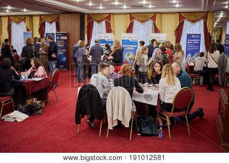 MOSCOW, RUSSIA - JAN 22, 2017: Participant of exhibition Education Abroad for All in Radisson Slavyanskaya Hotel and Business Center.