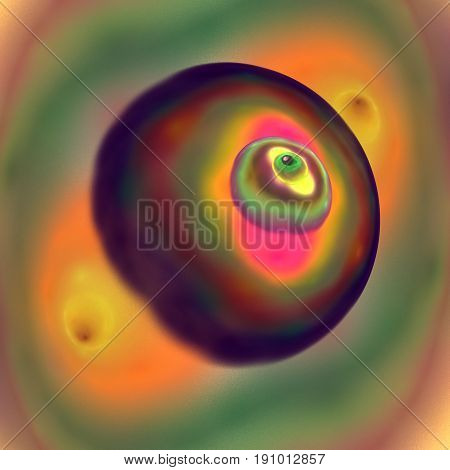 Nipple of female breast closeup - abstract painting in Impressionist style. Fractal art.