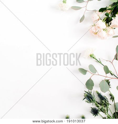 Beige rose flowers eringium flower eucalyptus branches on white background. Flat lay top view. Floral background