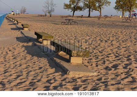 Stone Chairs at Holland Beach - This photo was taken in Holland Michigan