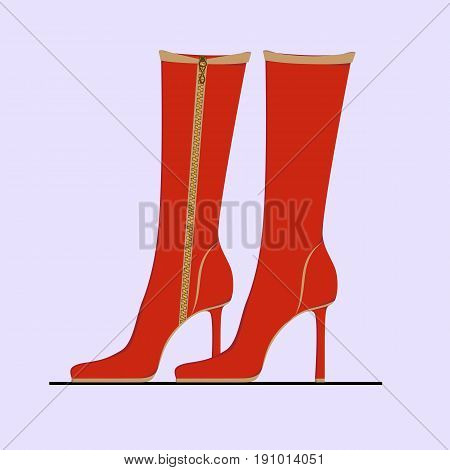 Elegant red women's boots with a zipper on the heel