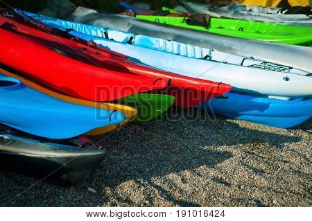 Colorful kayak, boat on the beautiful beach.