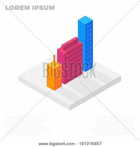 Isometric City Or Life Buildings In A Residential Block