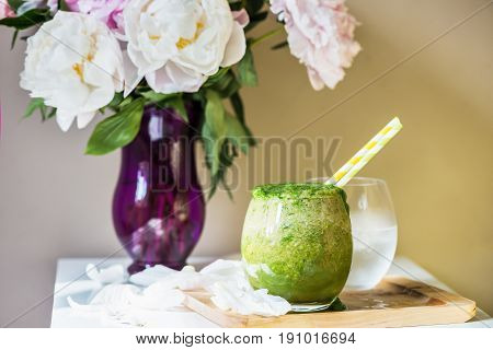 Healthy Green Smoothie And Peonies