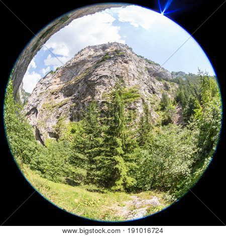 Fish-eye view of the mountain in the Rhodope Mountains abundantly overgrown with deciduous and evergreen forest (Trigradskoto Zhdrelo Bulgaria)