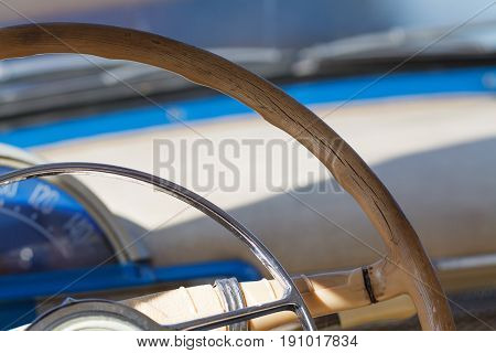 Classic Car interior with sun light on